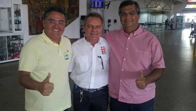 Roberto Rocha, Hélio Soares e Flávio Dino no aeroporto Marechal Cunha Machado