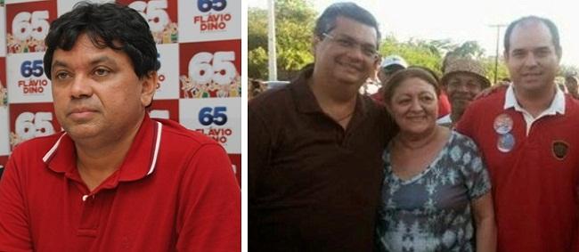 Secretário Márcio Jerry, governador Flávio Dino, a ex-prefeita Maria Aparecida da Silva Ribeiro e o seu filho, José Wellington da Silva Leite