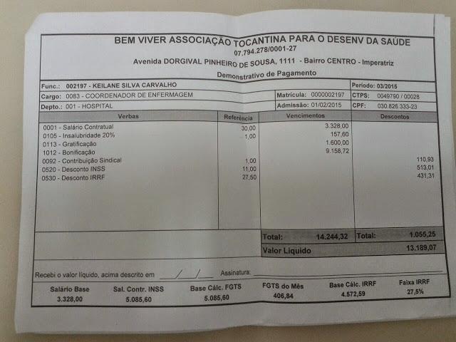Cópia do contra-cheque da enfermeira Keilane Carvalho