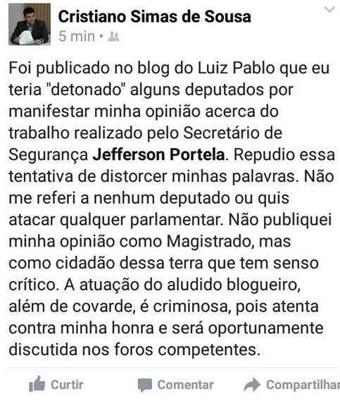 Juiz Cristiano Simas de Sousa - facebook