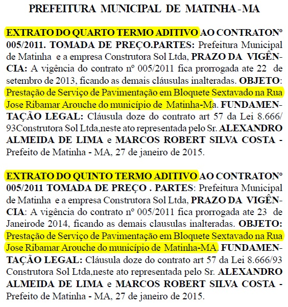 Prefeitura de Matinha - Construtora Sol Ltda