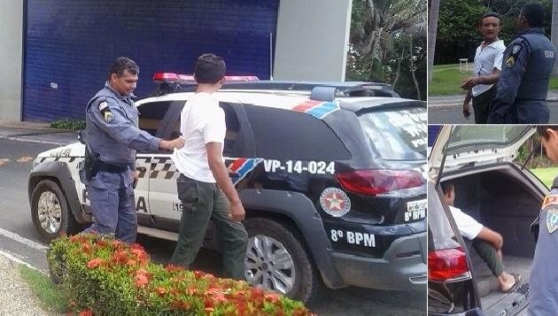 Ladrão capturado pela segurança da Polícia Militar do Poder Legislativo