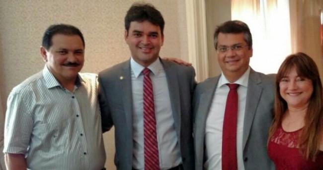 Ex-deputado Rubens Pereira, o filho deputado federal Rubens J., o governador Flávio Dino e a prefeita e mão do deputado, Suely Pereira de Matões