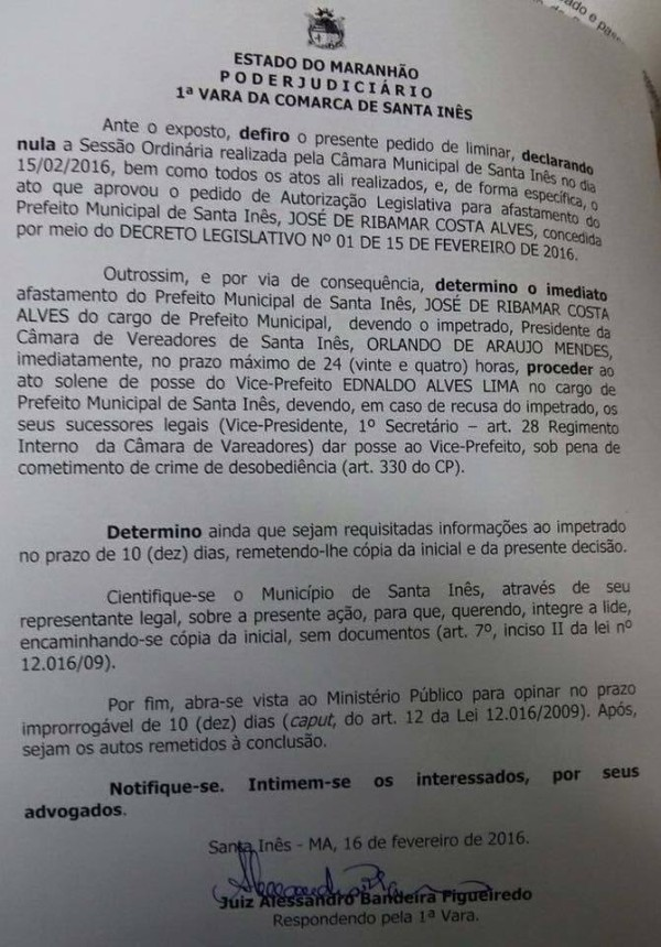Justiça - Santa Inês - Ribamar Alves