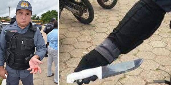 PM levou uma facada durante vandalismo de petista; faca que atingiu o policial militar