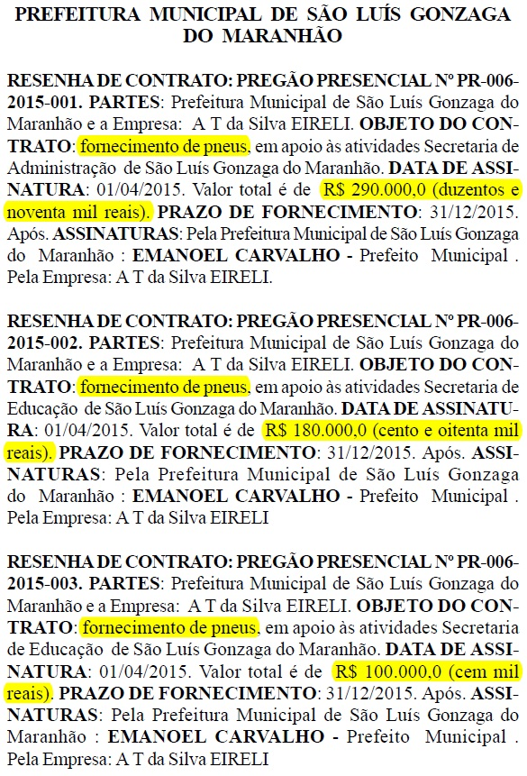 Publicação do Diário Oficial do dia 8 de abril da Prefeitura de São Luís Gonzaga do Maranhão