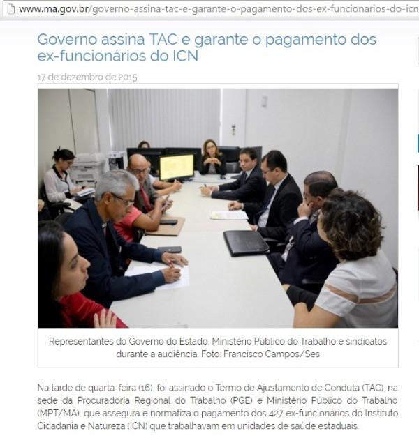 Matéria publicada no site oficial do governo garantia o cumprimento do TAC pelo Executivo.