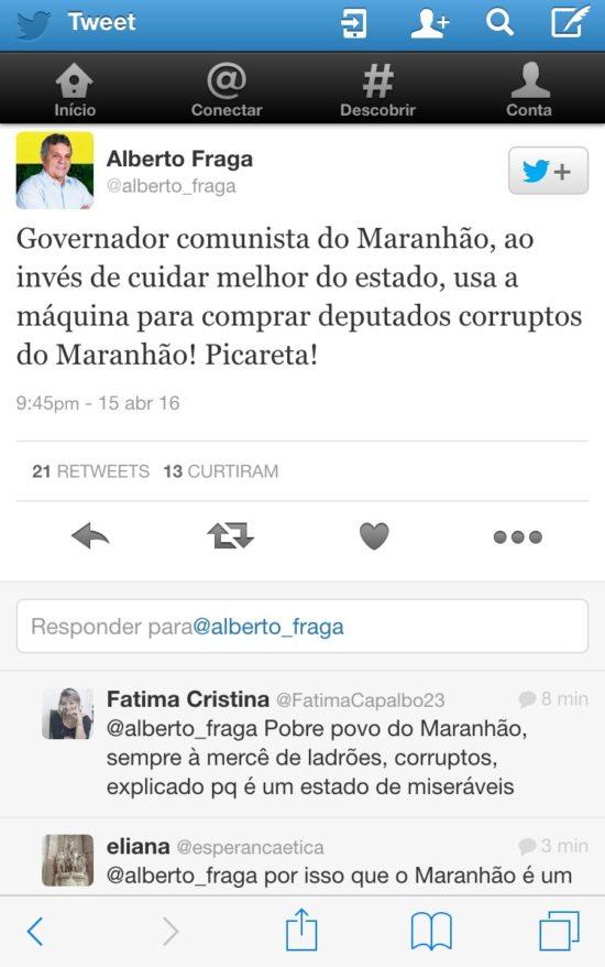 Deputado Alberto Fraga - governo Flávio Dino