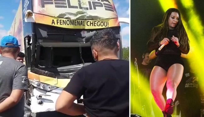 Ônibus da cantora Márcia Fellipe