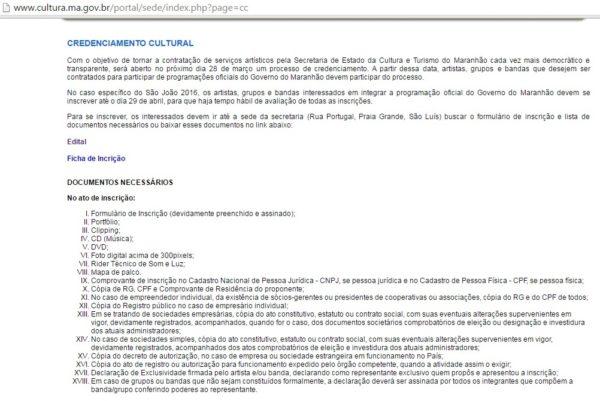 Documentos solicitados na inscrição, conforme edital