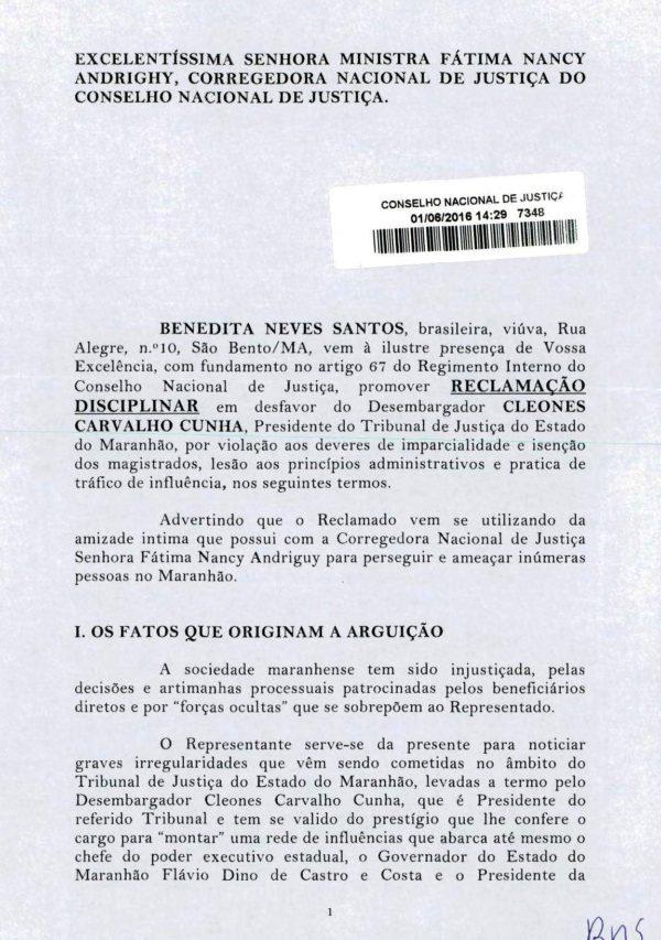 Representação contra o desembargador Cleones Cunha no CNJ