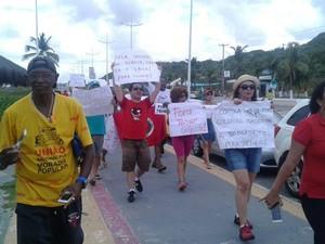 Manifestantem contra Temer também foram à Avenida Litorânea
