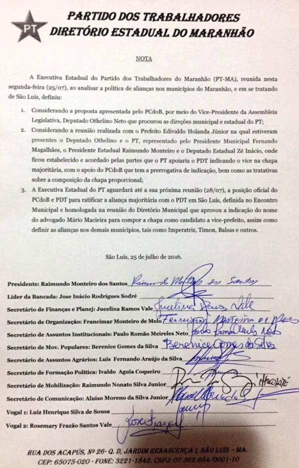 Nota do PT em São Luís