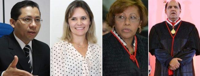 Promotor Paulo Roberto, juíza Cristiana Ferraz, desembargadora Anildes Cruz e o procurador-geral Luiz Gonzaga