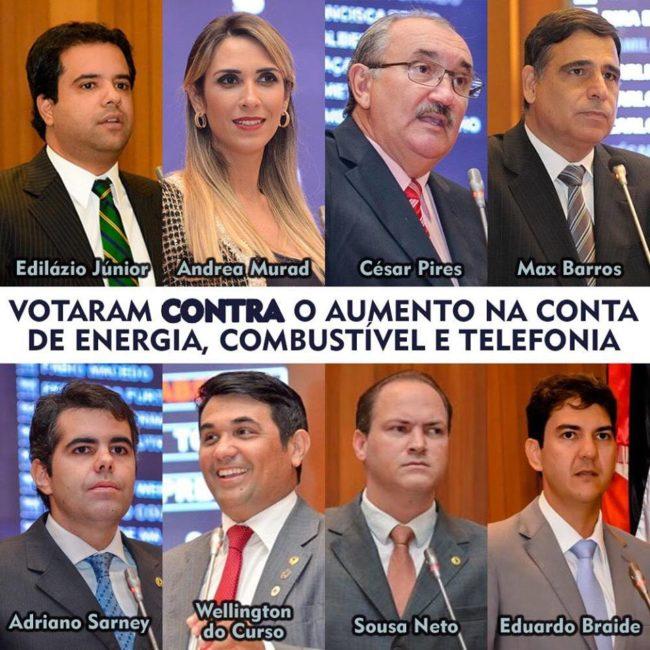 Deputados que votaram contra o aumento do imposto