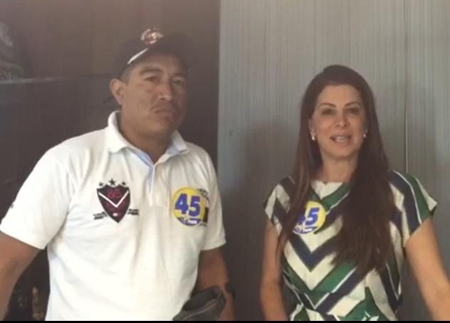 Cacique Darlan Boner e esposa do deputado Rigo Teles, Abigail Cunha.