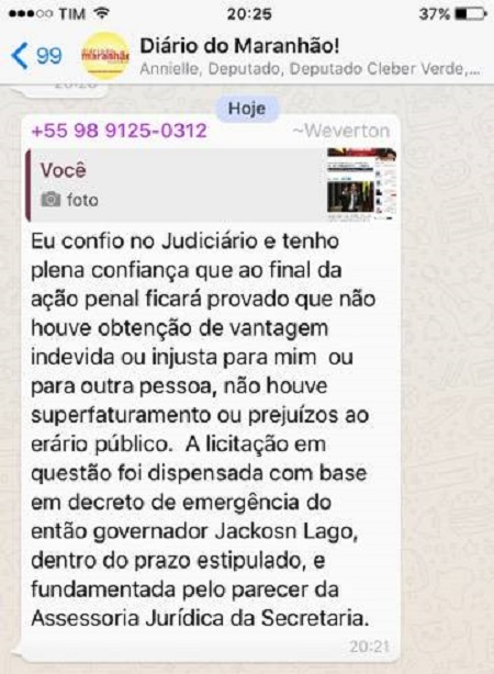 Weverton Rocha responde a publicação do Blog do Luis Pablo, em um grupo de WhatsApp