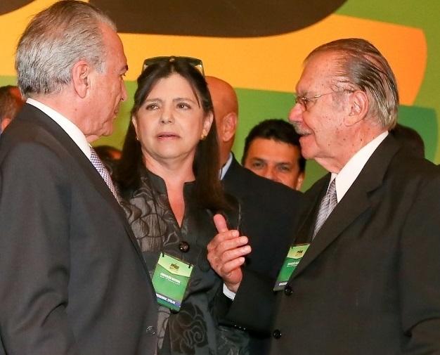 Presidente Michel Temer ao lado de Roseana e José Sarney