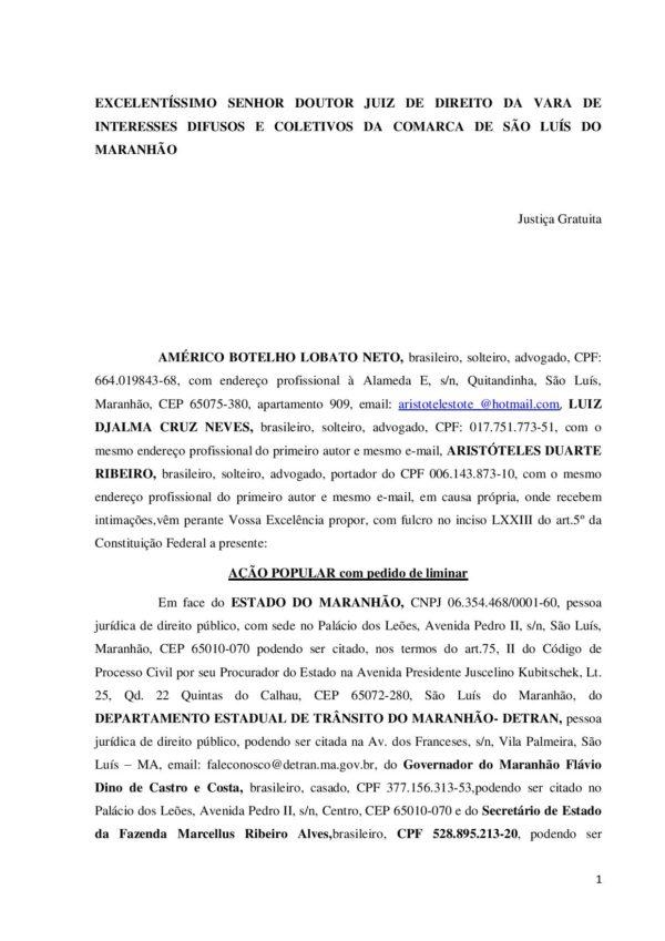 Document page 001 e1494919688750 - Governo Flávio Dino não pode mandar apreender veículos por IPVA atrasado - minuto barra