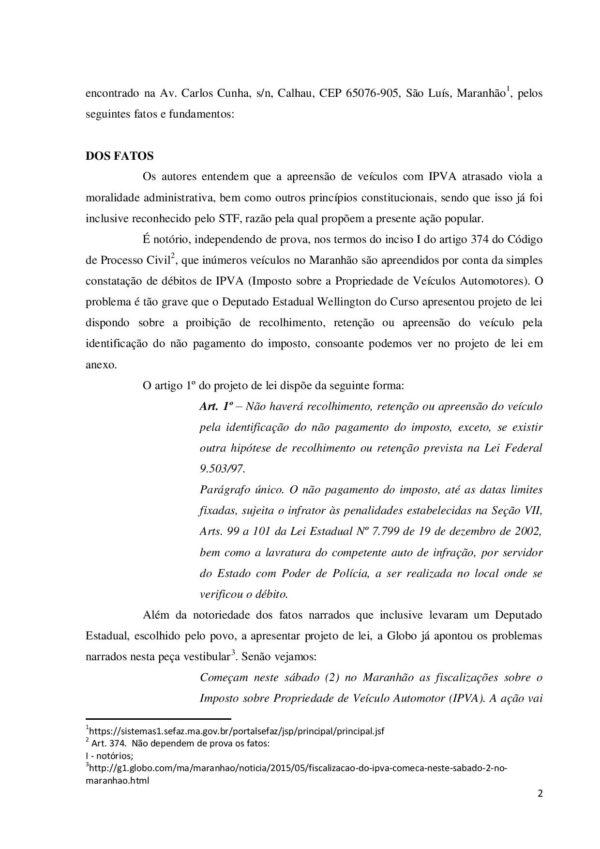 Document page 002 e1494919735800 - Governo Flávio Dino não pode mandar apreender veículos por IPVA atrasado - minuto barra