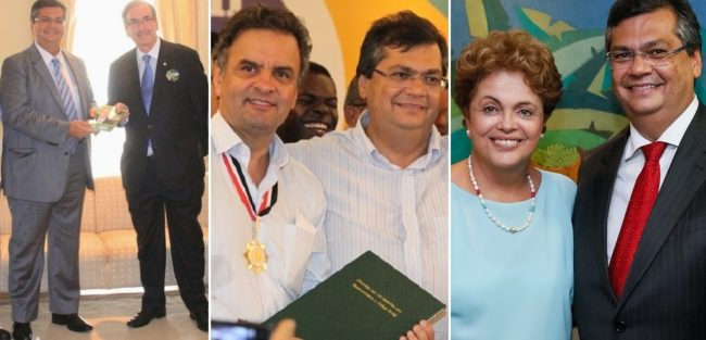 Flávio com Eduardo Cunha, Aécio Neves e Dilma Rousseff