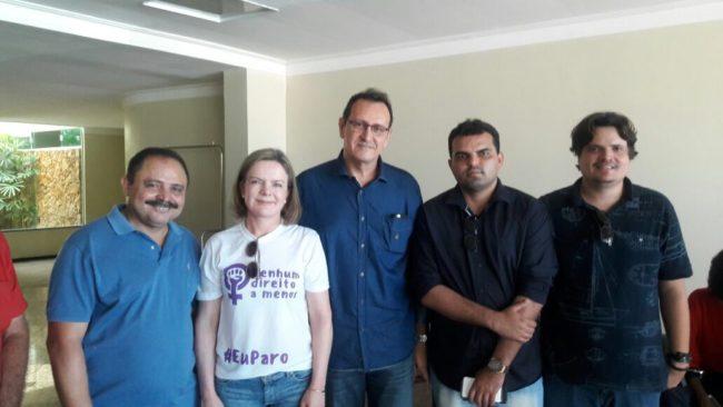 Waldir Maranhão, senadora Gleisi Hoffman, empresário Luis de Moraes, presidente do Avante de São Luís, Alvaro Pires e o progressista Daniel Bandeira