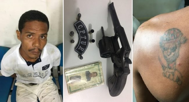 Assassino confesso Lucelmo Farias Gomes, a arma do crime e sua tatuagem de palhaço nas costas