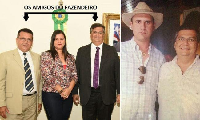 Penaldon, a mulher prefeita de Presidente Sarney e o governador Flávio Dino; fazendeiro Sebastião Patrick e Flávio