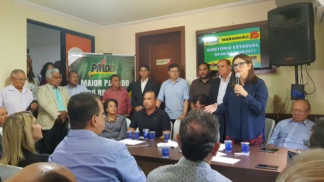 Roseana Sarney durante encontro do PMDB em São Luís