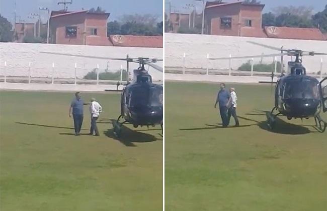 FALSO MORALISTA! Flávio Dino usa helicóptero do CTA para viajar pelo Maranhão com aliado de Sarney