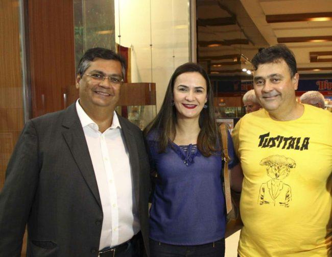Flávio Dino, sua esposa Daniela Lima e o desembargador federal Ney Bello
