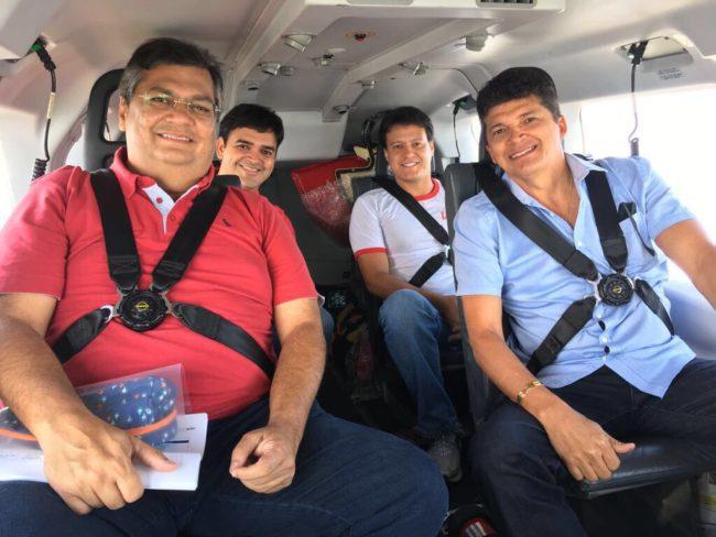 Flávio Dino usando helicóptero da segurança pública do MA