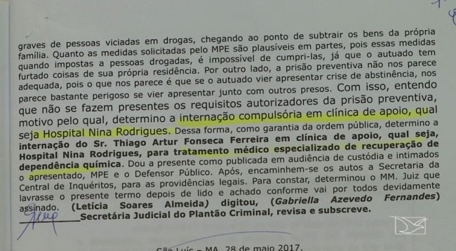 Decisão Judicial que determinava a internação de Thiago no Hospital Nina Rodrigues, em São Luís
