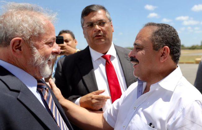Flávio Dino observando o olhar de Waldir Maranhão para Lula