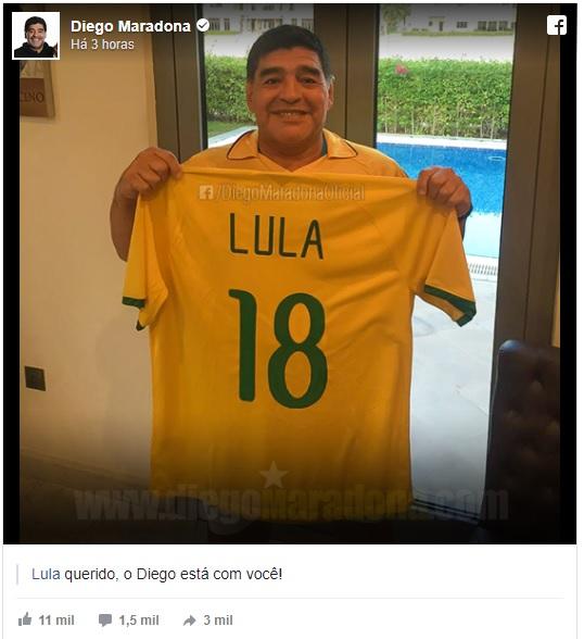 Maradona em apoio a Lula