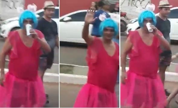 Filuca Mendes vestido de mulher no carnaval de Pinheiro 2018