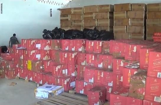 Bebidas apreendidas com quadrilha de contrabandistas