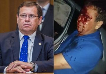 Deputado Stênio Rezende ferido e pedindo ajuda para socorrer esposa em acidente