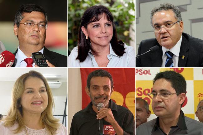 Os candidatos ao governo do Maranhão Flávio Dino (PCdoB), Roseana Sarney (MDB), Roberto Rocha (PSDB), Maura Jorge (PSL), Ramon Zapata (PSTU) e Odívio Neto (PSOL)