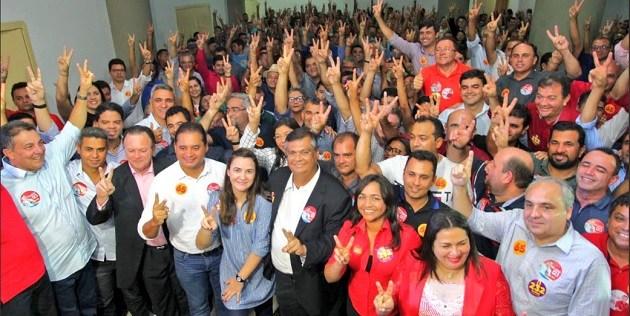 Flávio Dino na reunião com os prefeitos em São Luís-MA