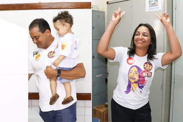 Weverton Rocha e Eliziane Gama durante a votação neste domingo