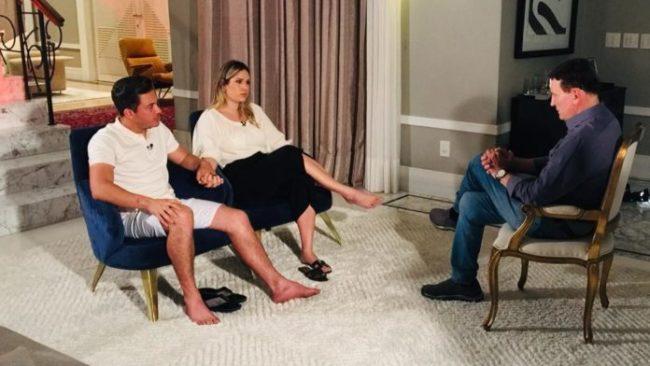 Wesley Safadão, a esposa Thyane e Roberto Cabrini