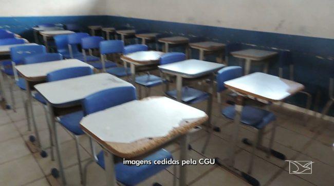 Auditor encontra grande quantidade de carteiras velhas em escola que deveria ter mais de 200 carteiras novas em Turiaçu