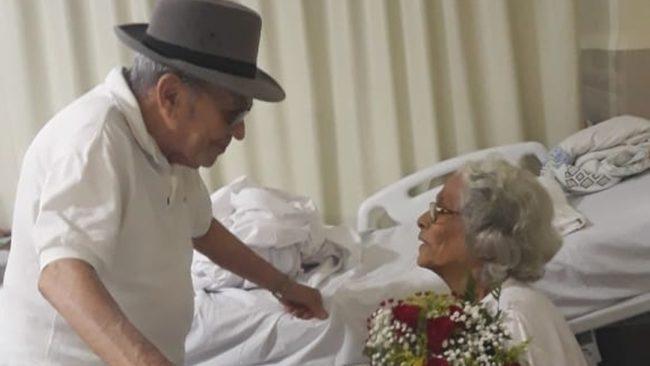 Celso foi até o Hospital do Servidor e promoveu um encontro romântico com a esposa Demeura, que sofreu um AVC no último domingo (20)