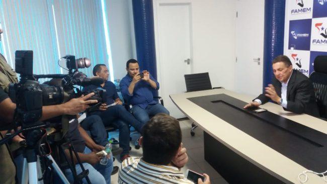 Cleomar Tema durante entrevista coletiva hoje (18) na Famem