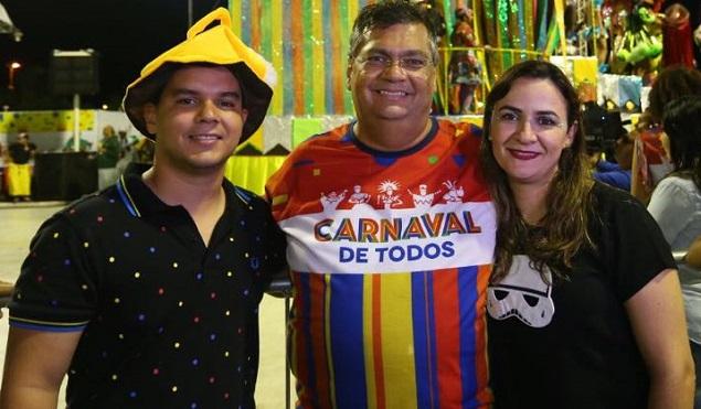 Diego Galdino ao lado de Flávio Dino e da primeira-dama Daniele