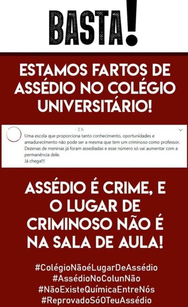 Nas redes sociais, alunos e ex-alunos do Colun pedem que o professor Francicarlos seja afastado definitivamente