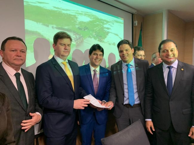 Vice-governador Carlos Brandão, o ministro Gustavo Henrique, deputado André Fufuca e o senador Weverton Rocha