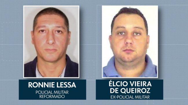 Ronnie Lessa, apontado como autor dos disparos contra Marielle, e Élcio Queiroz, suspeito de dirigir o carro