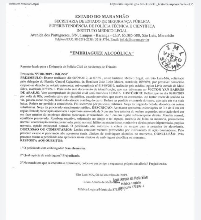 Laudo do Instituto Médico Legal aponta que Victor Yan Barros de Araújo não estava embriagado no momento do acidente